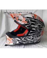 KASK LS2 MX437 FAST GLITCH WHITE/BLA.ORANGE - OFFROAD